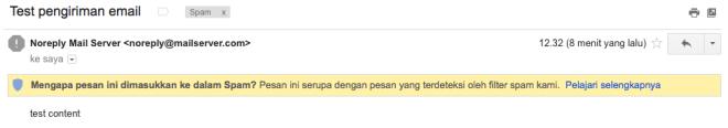 Pengiriman berhasil, ups masuk spam, hehe